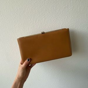 Faux leather brown clutch